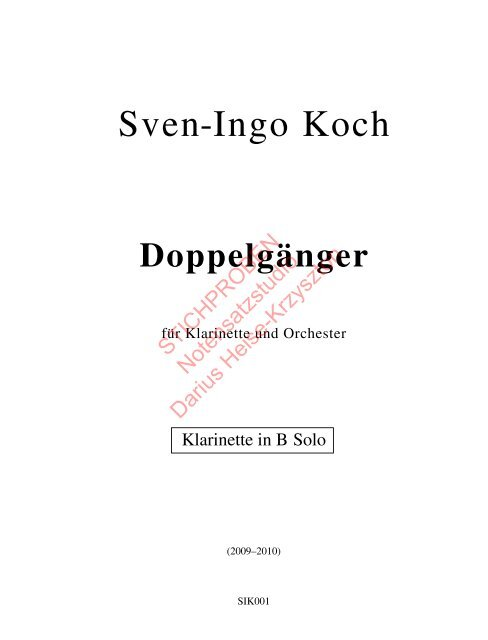 Sven-Ingo Koch, Doppelgänger, Klarinette solo