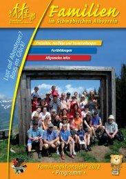 Familien-Programme 2012 im Schwäbischen Albverein.