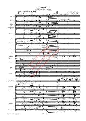 Erich Wolfgang Korngold, Cellokonzert, Partitur