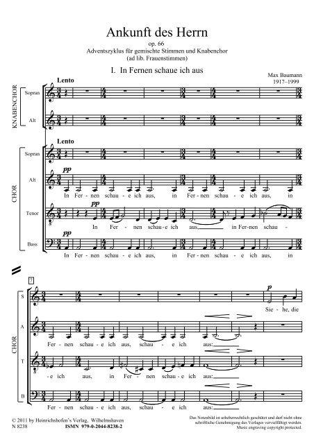 Max Baumann: Ankunft des Herren op. 66, Adventszyklus für gemischte Stimme und Knabenchor
