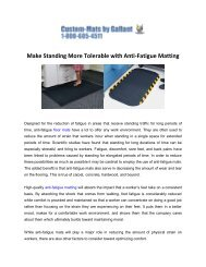 Make standing more tolerable with anti-fatigue matting