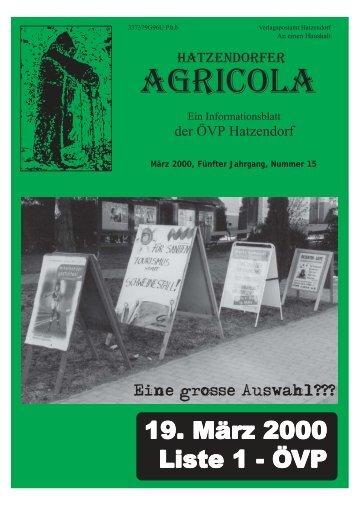 Hatzendorfer Agricola Ausgabe Nr. 15