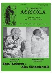 Hatzendorfer Agricola Ausgabe Nr. 22