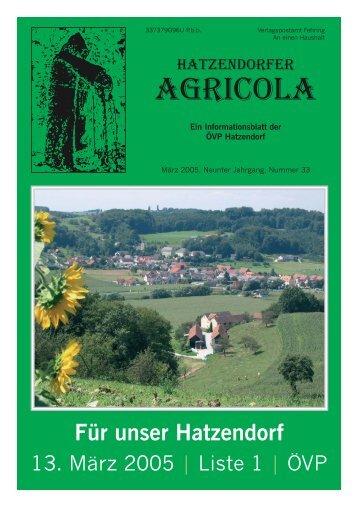 Hatzendorfer Agricola Ausgabe Nr. 33