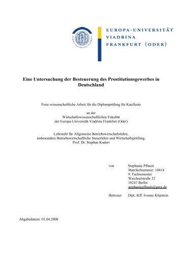 Eine Untersuchung der Besteuerung des Prostitutionsgewerbes in ...