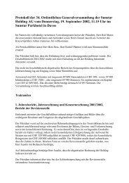 Protokoll der 34. Ordentlichen Generalversammlung der Sunstar ...