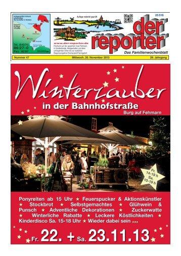 der reporter - Das Familienwochenblatt für Fehmarn 2013 KW 47