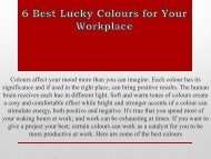 6 Best Lucky Colours for Your Workplace