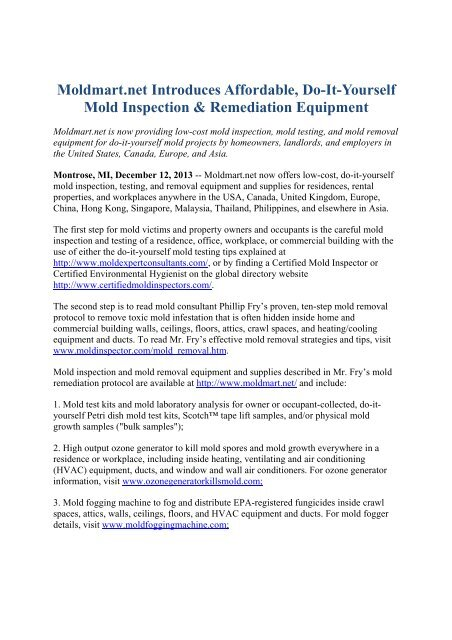 Moldmart Introduces Affordable Do It Yourself Mold Inspection Remediation Equipment