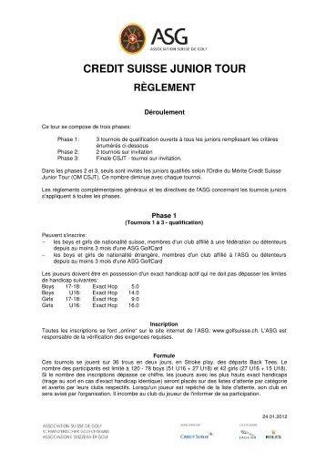 credit suisse junior tour règlement - Association Suisse de Golf