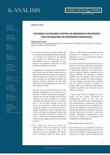 Acciones cautelares contra un demandado protegido por un registro ...