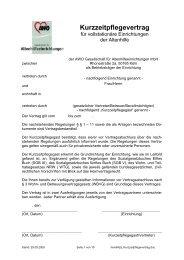 Kurzzeitpflegevertrag - AWO Altenzentrum Weilerswist