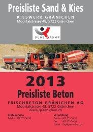 Beton Preisliste 2013