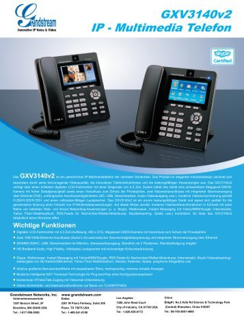 GXV3140v2 IP - Multimedia Telefon - Grandstream Networks