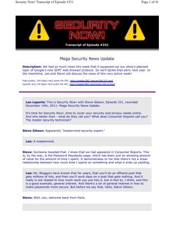 Mega Security News Update - Gibson Research Corporation