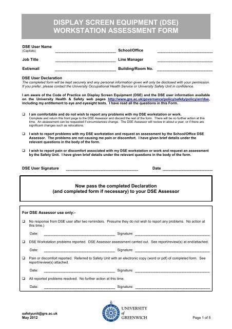 Workstation Assessment Form