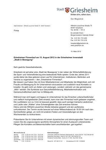 Der Magistrat Firma Griesheimer Firmenlauf am ... - Stadt Griesheim