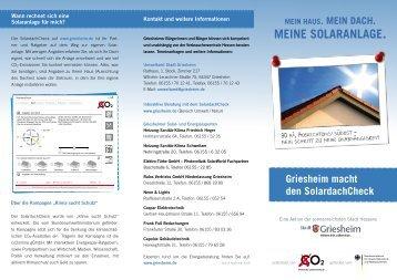 MEINE SOLARANLAGE. - Stadt Griesheim
