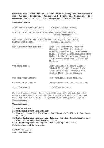 Niederschrift über die 18 - Stadt Griesheim