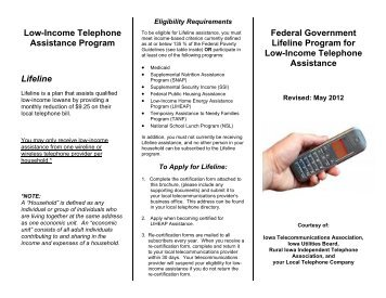 Low-Income Telephone Assistance Program Lifeline Federal ...