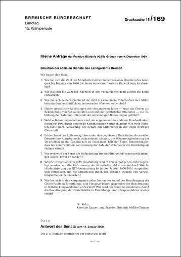 """Kleine Anfrage """"Situation der Sozialen Dienste des Landgerichts"""