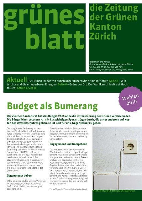 Budget als Bumerang die Zeitung der Grünen Kanton Zürich
