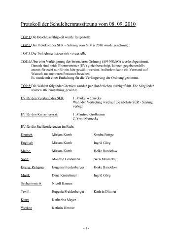 Protokoll der SER- Sitzung vom 8. September 2010 - Die ...