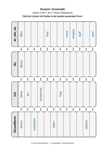 zeitformen des verbs arbeitsblatt 3