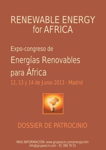 RENEWABLE ENERGY for AFRICA para África - Ecm European ...