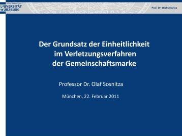 Der Grundsatz der Einheitlichkeit im Verletzungsverfahren ... - GRUR