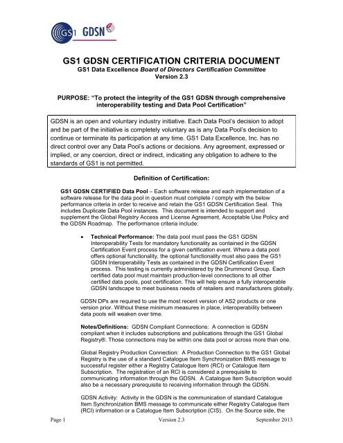 GDSN Inc Certification Criteria Document - GS1