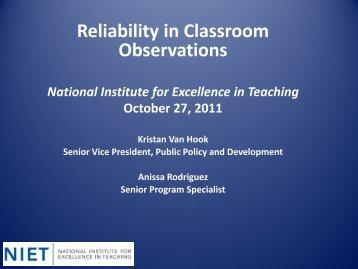 Reliability in Classroom Observations - Harvard Graduate School of ...