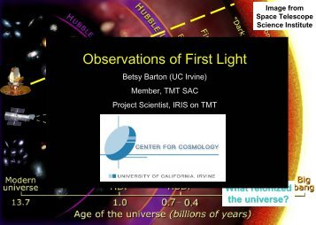 Observations of First Light in the Universe - GSMT