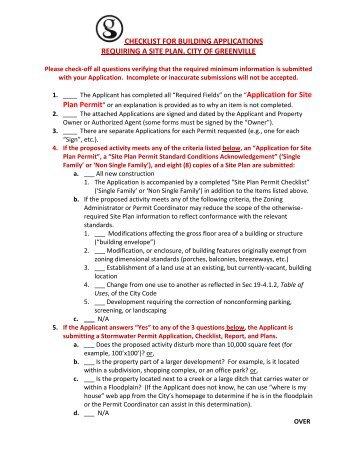 Building Permit Applicant Checklist - Greenville