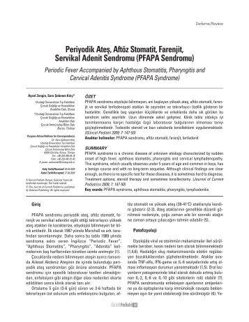 PFAPA Sendromu - Güncel Pediatri Dergisi
