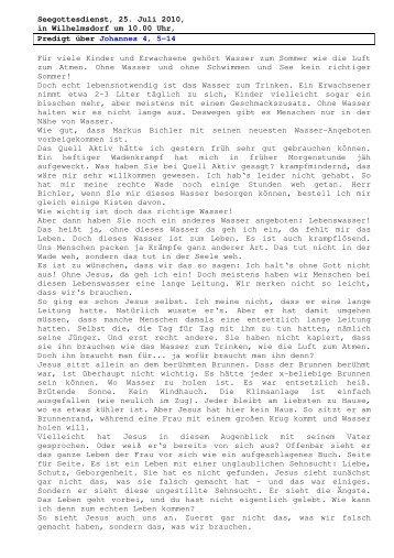 25.07 Johannes 4, 5-14 Seegottesdienst (PDF) Pfr