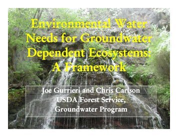 Environmental Water Needs for Groundwater Dependent Ecosystems