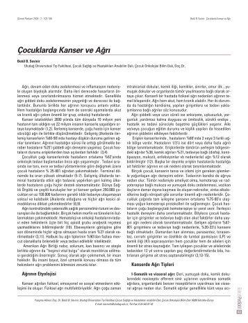 Çocuklarda Kanser ve A¤r› - Güncel Pediatri Dergisi