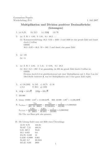 Dezimalbrüche Aufgaben Multiplikation Und Division Positiver Dezimalbr 252  Che Aufgaben