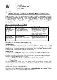 Vnitřní předpis k podobě maturitní zkoušky v roce 2012