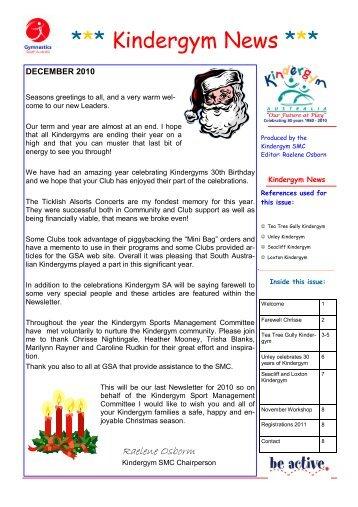 Kindergym Newsletter Dec  Gymnastics Sa