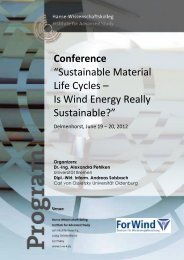 Sustainable Material Life Cycles ? Is Wind Energy Really Sustainable?