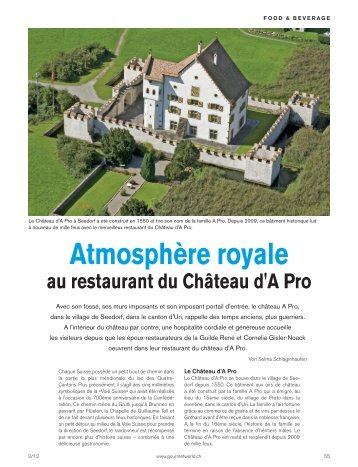 Atmosphère royale au restaurant du Château d'A Pro