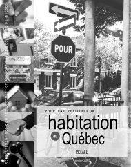 Pour une politique de l'habitation au Québec - RCLALQ