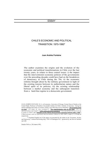 chilean economic shock therapy essay Of economic liberalization in chile for revising this essay the fruits of the relatively orthodox shock therapy applied to chile's economy were first visible.
