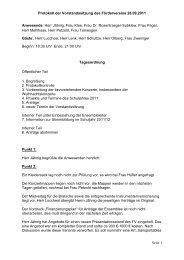 Protokoll der Vorstandssitzung des Fördervereins 26.09.2011 Seite ...