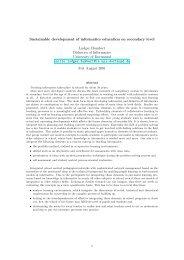 Sustainable development of informatics education on secondary level