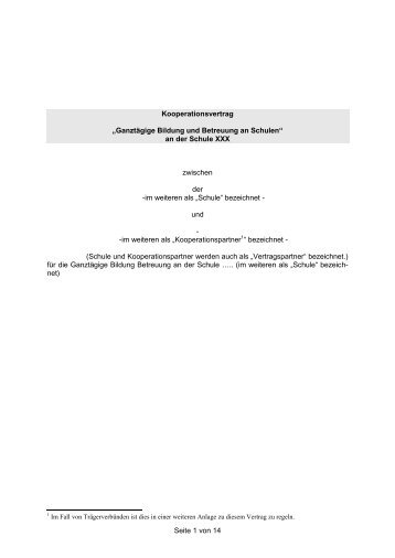 seite 1 von 14 kooperationsvertrag ganztgige bildung hamburg - Kooperationsvertrag Muster Kostenlos