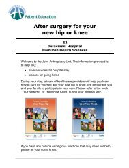 After surgery for your new hip or knee - Hamilton Health Sciences