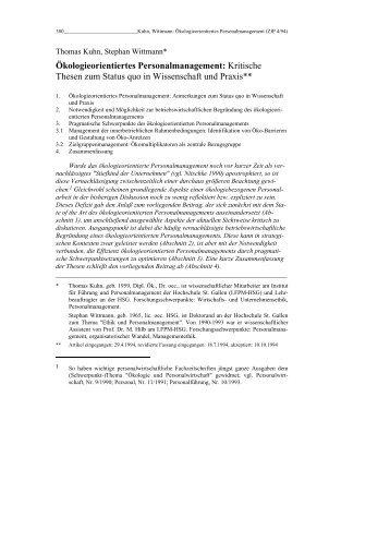 Ökologieorientiertes Personalmanagement - Rainer Hampp Verlag